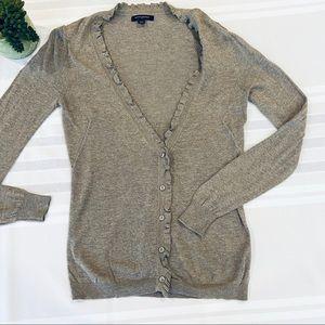 Banana Republic Gray Ruffled Sweater Cardigan Sz S